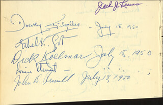 DOROTHY KILGALLEN - AUTOGRAPH 07/18/1950 CO-SIGNED BY: RICHARD KOLLMAR