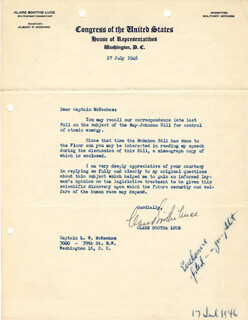 CLARE BOOTHE LUCE - TYPED LETTER SIGNED 07/17/1946