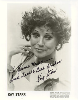 KAY STARR - INSCRIBED PRINTED PHOTOGRAPH SIGNED IN INK