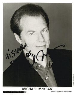 MICHAEL McKEAN - INSCRIBED PRINTED PHOTOGRAPH SIGNED IN INK
