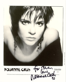 ROSANNE CASH - INSCRIBED PRINTED PHOTOGRAPH SIGNED IN INK 1993
