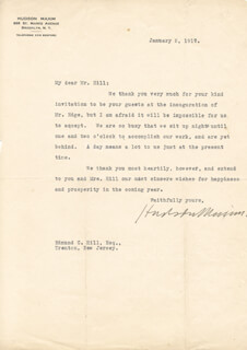 HUDSON MAXIM - TYPED LETTER SIGNED 01/02/1917
