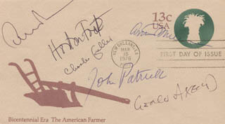 ARTHUR MILLER - FIRST DAY COVER SIGNED CO-SIGNED BY: ALBERT HORTON FOOTE JR., CHARLES FULLER, GEORGE AXELROD, JOHN PATRICK, EDWARD ALBEE