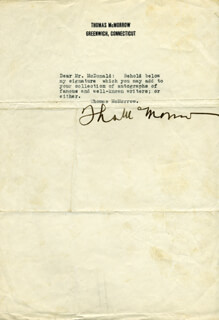 THOMAS McMORROW - TYPED LETTER SIGNED