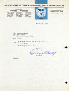 GEORGE MEANY - TYPED LETTER SIGNED 11/21/1967
