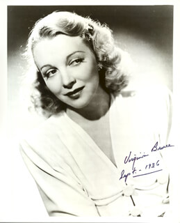VIRGINIA BRUCE - AUTOGRAPHED SIGNED PHOTOGRAPH 09/1936