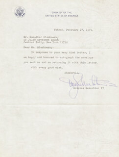 DOUGLAS MacARTHUR II - TYPED LETTER SIGNED 02/17/1971