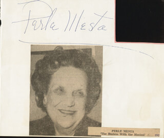PERLE MESTA - AUTOGRAPH CO-SIGNED BY: ELROY CRAZY LEGS HIRSCH