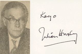 SIR JULIAN S. HUXLEY - INSCRIBED SIGNATURE