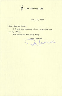 JAY LIVINGSTON - TYPED LETTER SIGNED 12/12/1990
