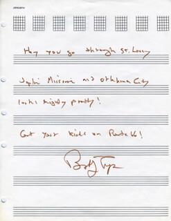 BOBBY (ROBERT) TROUP - AUTOGRAPH LYRICS SIGNED