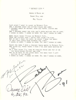 MEL TILLIS - TYPED LYRIC(S) SIGNED 01/06/1992 CO-SIGNED BY: DANNY DILL, BOBBY BARE