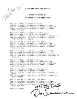 MAC DAVIS - TYPED LYRIC(S) SIGNED CO-SIGNED BY: DOC SEVERINSEN