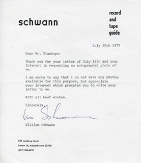 WILLIAM SCHWANN - TYPED LETTER SIGNED 07/20/1973