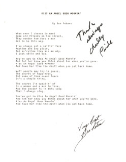 CHARLEY PRIDE - TYPED LYRIC(S) SIGNED CO-SIGNED BY: BEN PETERS