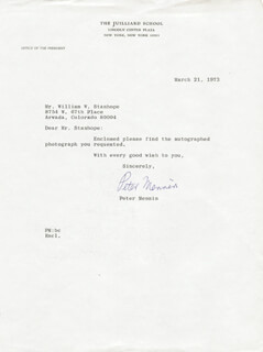 PETER MENNIN - TYPED LETTER SIGNED 03/21/1973