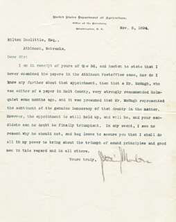 Autographs: JULIUS S. MORTON - TYPED LETTER SIGNED 11/05/1894