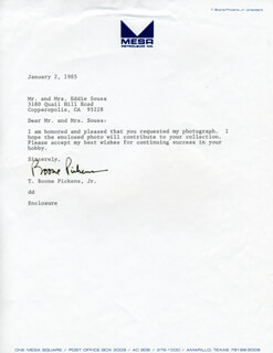 THOMAS BOONE PICKENS JR. - TYPED LETTER SIGNED 01/02/1985