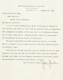 Autographs: JULIUS S. MORTON - TYPED LETTER SIGNED 01/28/1895