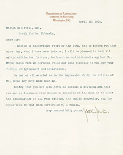 Autographs: JULIUS S. MORTON - TYPED LETTER SIGNED 04/15/1895