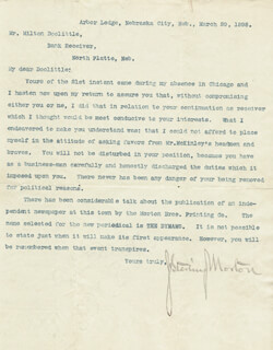 JULIUS S. MORTON - TYPED LETTER SIGNED 03/29/1898