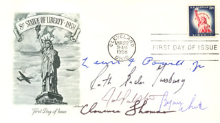 ASSOCIATE JUSTICE BYRON R. WHITE - FIRST DAY COVER SIGNED CO-SIGNED BY: ASSOCIATE JUSTICE LEWIS F. POWELL JR., ASSOCIATE JUSTICE CLARENCE THOMAS, ASSOCIATE JUSTICE RUTH BADER GINSBURG, ASSOCIATE JUSTICE JOHN PAUL STEVENS