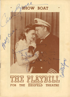 SHOW BOAT PLAY CAST - INSCRIBED SHOW BILL SIGNED CO-SIGNED BY: JAN CLAYTON, COLLETTE LYONS, CAROL BRUCE, BUDDY EBSEN