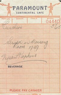 MIRIAM HOPKINS - MEAL TICKET SIGNED