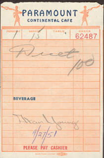 ALAN YOUNG - MEAL TICKET SIGNED 04/27/1951
