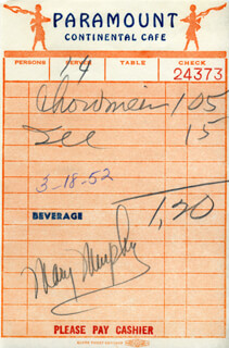 MARY MURPHY - MEAL TICKET SIGNED 03/18/1952
