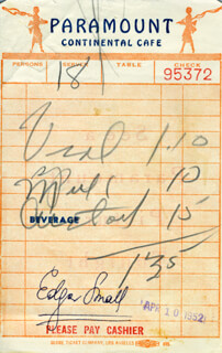 EDGAR SMALL - MEAL TICKET SIGNED 04/10/1952