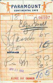 EDGAR SMALL - MEAL TICKET SIGNED 04/23/1952