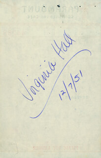 Virginia Hall Autographs 181943