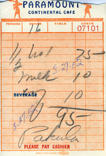 ALAN J. PAKULA - MEAL TICKET SIGNED 03/27/1952