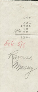 RAYMOND MASSEY - RECEIPT SIGNED