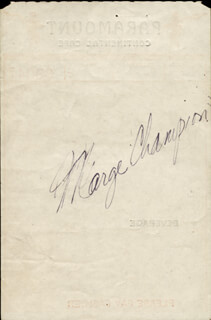 MARGE CHAMPION - MEAL TICKET SIGNED  - HFSID 181960