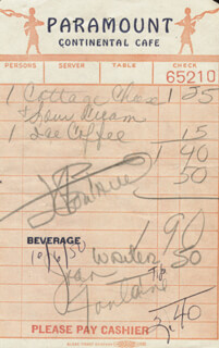 Autographs: JOAN FONTAINE - MEAL TICKET SIGNED 10/06/1950