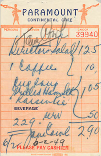 JANE COWL - MEAL TICKET SIGNED 06/02/1949  - HFSID 181964