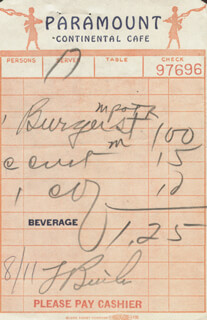FRANK BUTLER - MEAL TICKET SIGNED 8/11