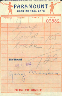 GEORGE E. MARSHALL - MEAL TICKET SIGNED 04/06/1952