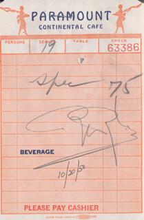 ROBERT WYLER - MEAL TICKET SIGNED 10/20/1950