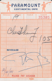 Autographs: ROBERT WYLER - MEAL TICKET SIGNED 12/20/1951