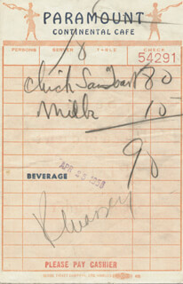 RAYMOND MASSEY - MEAL TICKET SIGNED