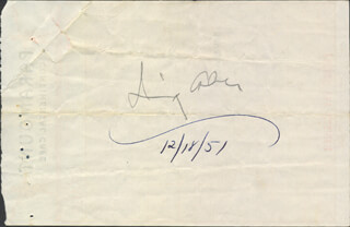 Autographs: IRVING ASHER - MEAL TICKET SIGNED 12/18/1951
