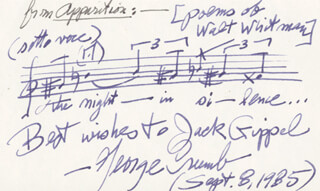 GEORGE CRUMB - AUTOGRAPH MUSICAL QUOTATION SIGNED