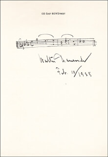 WALTER J. DAMROSCH - AUTOGRAPH MUSICAL QUOTATION SIGNED 02/10/1938