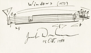 JACOB DRUCKMAN - AUTOGRAPH MUSICAL QUOTATION SIGNED 10/19/1985