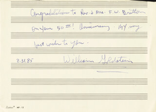 Autographs: WILLIAM GOLDSTEIN - AUTOGRAPH NOTE SIGNED 08/31/1985