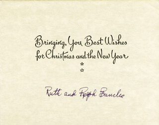 RALPH J. BUNCHE - CHRISTMAS / HOLIDAY CARD SIGNED