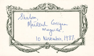 MAIREAD CORRIGAN MAGUIRE - AUTOGRAPH SENTIMENT SIGNED 11/10/1987